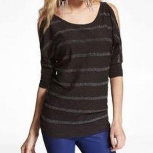 Express Cold Shoulder Shimmer Stripe Sweater